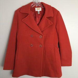 Talbots Pea Coat Orange Size 10 Wool